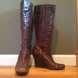 Aldo Leather Boots with Wedge Heel.